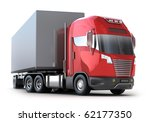 Red Truck with container isolated on white. My own design. - stock photo