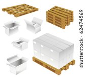 set of cardboard boxes and wood pallets. vector illustration - stock vector