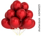 Red party balloons. Happy Birthday anniversary graduation retirement decoration classic. New Year Merry Christmas greeting card concept. Detailed 3d render. Isolated on white background. - stock photo
