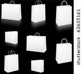 Set of blank white paper shopping bags vector isolated on black - stock vector