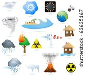Set of extreme weather condition signs vector - stock vector