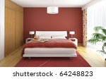 interior design of modern bedroom in red white and wood with a big window on the right - stock photo
