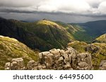 Panorama of Scottish highlands above Glen Coe - stock photo