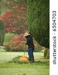 woman sweeping leaves - stock photo
