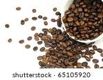 Coffee beans close-up in white background. - stock photo