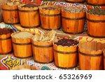 Egyptian spice market, focused on dry hibiscus flowers for tea - stock photo
