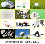 Collection of golf images in a beautiful collage - stock photo