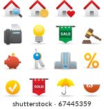 12 Real State Icons Professional vector set for your website application or presentation The graphics can easily be edited color individually and scaled to any size - stock vector