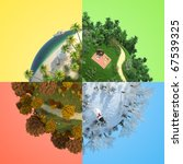 concept of miniature globe showing four season in representive landscape for each one, isolated and with clipping path. - stock photo