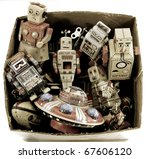 old tin toys - stock photo