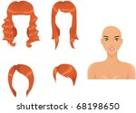 Woman head with haircut assortment - stock vector