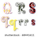 Colorful 3D Swirl QRS Letters with custom patterns (swatches) included. to mix  and match or color to your specific needs. eps10 - stock vector