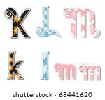 Colorful 3D Swirl KLM Letters with custom patterns (swatches) included. to mix  and match or color to your  desired needs. eps 10 - stock vector