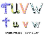Colorful 3D Swirl TUVW Letters with custom patterns (swatches) included. to mix  and match or color to your desired needs. eps10 - stock vector