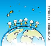 happy kids on top of the globe vector illustration, sticky little people in children's drawing style series, grouped and layered for easy editing - stock vector