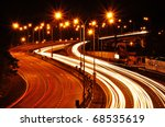 light trail at highway - stock photo