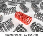 Red Metal spring  - 3d rendering - stock photo