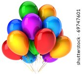 Happy Birthday balloons party decoration multicolor. Retirement graduation anniversary holiday icon concept. Joy fun happiness positive emotion concept. Detailed 3d render Isolated on white background - stock photo