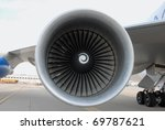 large jet engine turbine - stock photo