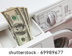 Metaphor expensive washing powder, used in washing machines - stock photo