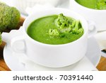 Broccoli green fresh soup - stock photo