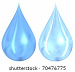2 different styles of blue water drops isolated on a white background - stock photo