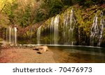 Autumn at Mossbrae Falls on the Sacramento River, California - stock photo