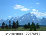 Grand Teton National Park on a clear summer day - stock photo