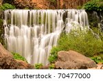 Close view of Middle Falls on the McCloud River, California - stock photo