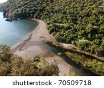 the river of olympos top view - stock photo