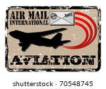 Stamp of air mail with the image of the plane and a post envelope - stock vector