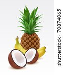 Fresh pineapple, bananas and coconut - stock vector