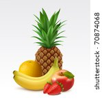 Ripe pineapple, orange, bananas, apple and strawberries - stock vector