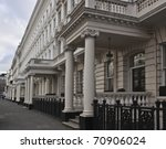 White Victorian terrace Building - stock photo