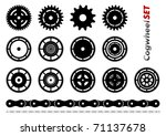 Cogwheel set isolated on the white - stock vector