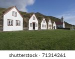Icelandic turf houses - stock photo