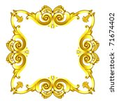 3d gold framework, the sculptural form on a white background - stock photo