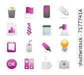 10 Purple Office Icons Professional vector set for your website, application, or presentation. The graphics can easily be edited color individually and be scaled to any size - stock vector