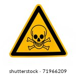 Yellow triangular danger sign with black skull - stock photo