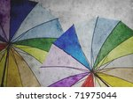 vintage paper background with umbrella - stock photo
