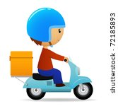 Vector illustration. Delivery cartoon scooter with big orange box - stock vector