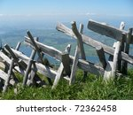 Interlocked wooden fence in Switzerland - stock photo