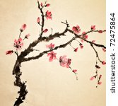 Chinese painting, traditional art  with flower in color on art paper. - stock photo