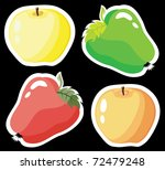Set of colored apples on a black background - stock vector