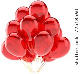 Red party balloons translucent Happy Birthday celebrate holiday occasion decoration. Joy happiness fun positive abstract. Greeting card concept. Detailed 3d render. Isolated on white background - stock photo