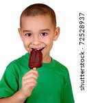 kid eating chocolate ice cream bar, isolated on white background - stock photo