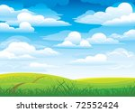 Group clouds on blue sky and green meadow with road and flowers - stock vector