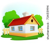 Vector illustration. Cartoon rural house with among trees and fence - stock vector