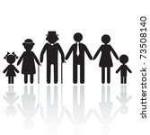 People silhouette family icon. Person vector woman, old man. Kid icon child, grandpa, grandma, granny, grandmother. Generation illustration. - stock vector