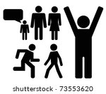 person black icon set - stock vector